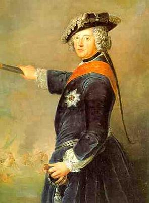 Fridrich II. Pruský jako vojevůdce na obraze Antoina Pesneho z roku 1745