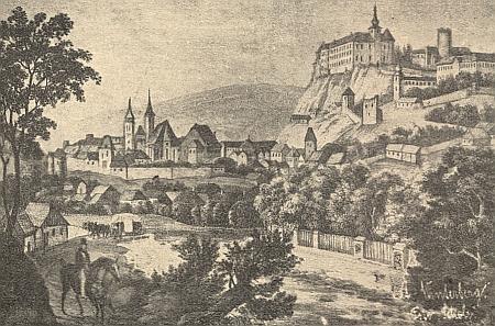 Vimperk v 18. století na starém vyobrazení