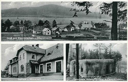 Na předválečné pohlednici z rodné Lenory vidíme i české pohraniční opevnění