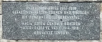 """Bradatschova """"Výzva"""" platí pro všechny války - památník padlým v 1. světové válce v Lenoře"""