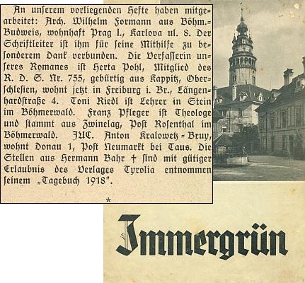 """V seznamu spolupracovníků """"šumavského"""" čísla varnsdorfského časopisu """"Immergrün"""" je zřejmě tehdy jako student práv uveden svým vlastním jménem"""