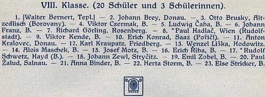 Vidíme ho pod pořadovým číslem 11 na seznamu absolventů německého gymnázia v Českých Budějovicích
