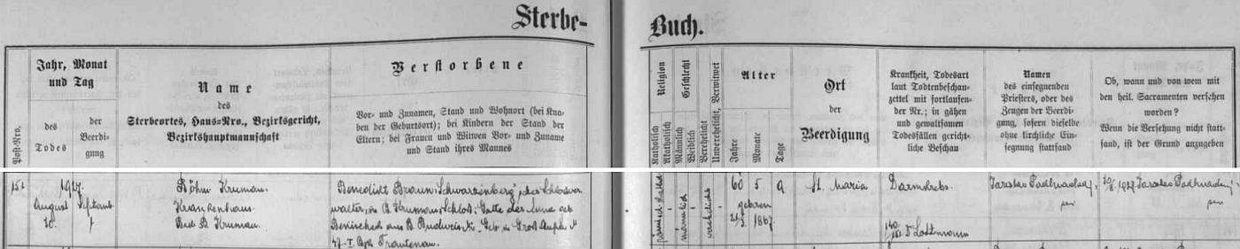 Záznam českokrumlovské úmrtní matriky o otcově skonu 10. srpna roku 1927 v 60 letech věku - jeho synovy byly pouhé 4 roky
