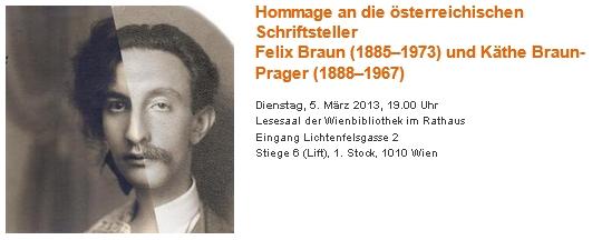 Pozvánka na literární večer o něm a jeho sestře Käthe, rakouské spisovatelce a malířce