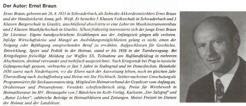 Foto z mladších let a životopis z jeho knihy Schwaderbach (1976)