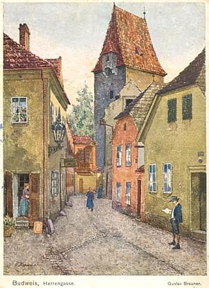 Další dvě pohlednice s Braunerovými obrazy ze starých Budějovic, jedna s českým, druhá (opět s Rabenštejnskou věží) s německým textem