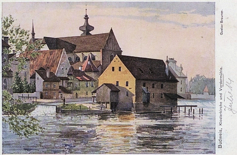 Přední mlýn (Vordermühle) na jeho akvarelu
