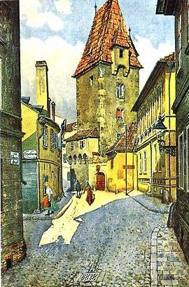 Braunerův obraz Rabenštejnské věže  v Českých Budějovicích