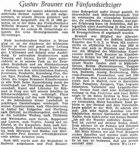 Jeho pětasedmdesátin vzpomněl ústřední list vyhnaných krajanů v říjnu 1955 článkem Erwina Weisera