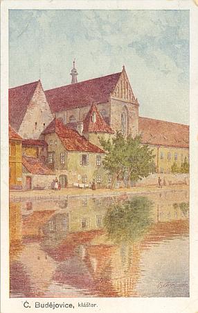 Asi nejznámější motiv ze starých Budějovic na pohlednici dle jím signovaného originálu