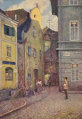 """Solná branka na jedné ze sta budějovických pohlednic """"dle originálu Gustava Braunera"""""""