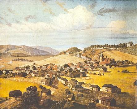Horní Planá na olejomalbě A. Stiftera z roku 1823 s výraznou věží zdejšího kostela