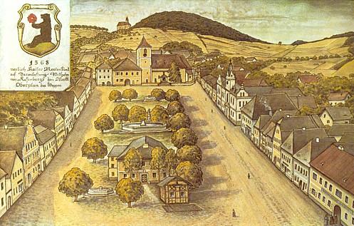 Hornoplánské náměstí v kresbě Eduarda Brazdy (viz i Adolf Fürstenbauer a Josef Lux)