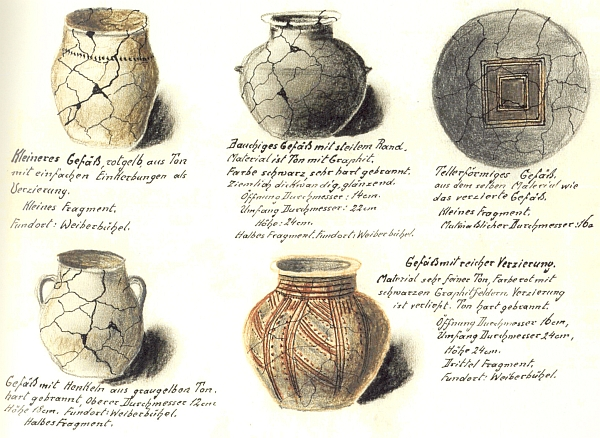 Jeho dokumentace o nálezech keramických nádob z halštatských mohyl v lesní trati Weiherbühel  u Boletic z roku 1929