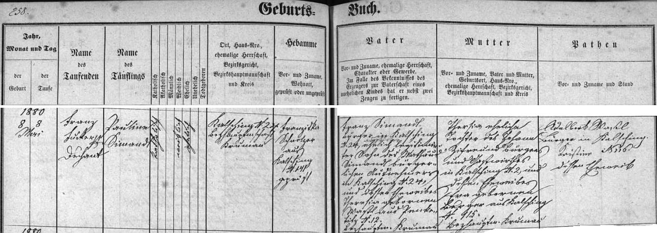 Záznam chvalšinské křestní matriky o narození jeho ženy