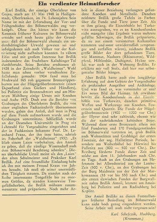 Ke druhému výročí Brdlikova skonu napsal Karl Schefczik o jeho významu tento text do krajanského měsíčníku