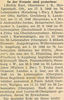 """Hned ve druhém čísle prvního ročníku krajanského časopisu """"Hoam!"""" se jeho jméno objevilo v čele seznamu těch, kdo """"zemřeli v cizině"""" s dovětkem """"Německá zem jim budiž lehkou!"""""""