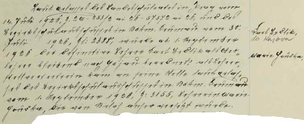 Záznam chvalšinské školní kroniky o jeho přeložení v roce 1926 do Kájova a nástupu učitelky Marie Hruškové z Brloha na jeho místo