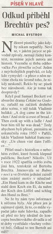 Pes jitrničku sežral a Bertolt Brecht - sloupek Michala Bystrova v Lidových novinách