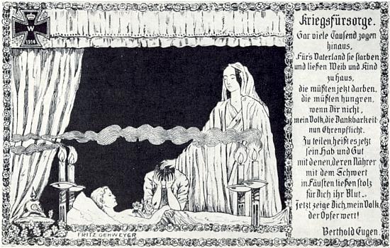 """""""Ukaž se nyní, národe, té oběti hoden!"""" - zní závěrečný verš pohlednice s Brechtovým (ovšem jménem """"Berthold Eugen"""" označeným) textem, vydané ve prospěch Červeného kříže a válkou poškozených a znázorňující mrtvolu přítele Fritze Gehweyera, s nímž putoval Bavorským lesem a Šumavou"""