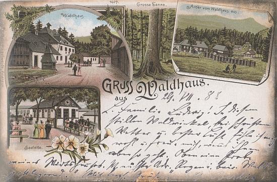 Malovaná pohlednice ze Zwieslerwaldhausu