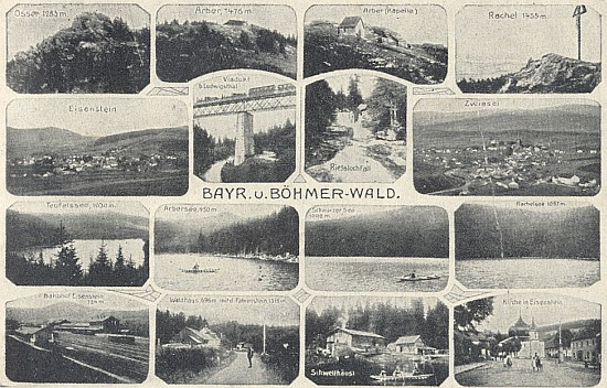 Pohlednice z dob jeho putování zachycuje Javor i Zwieslerwaldhaus s Falkensteinem