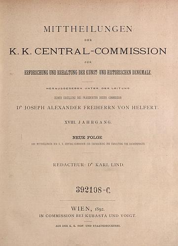 Titulní list XVIII. ročníku (1892) časopisu, vydávaného pod vedením Josefa Alexandra Helferta), kde vyšel Brechlerův text o zámecké věži