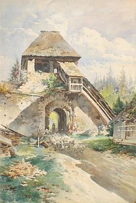 """Jeho akvarel, vzniklý někdy kolem roku 1900, zachycuje """"stádo ovcí, hnané starou bránou v Murau"""", rozuměj ve štýrském panství rodu schwarzenberského"""