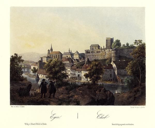 Cheb na barevné litografii Augusta Hauna (1864)