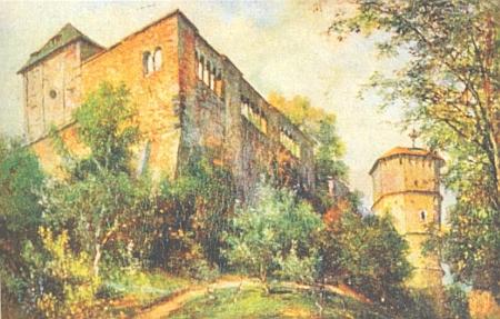 Štaufský hrad a císařská falc na barevné pohlednici někdejšího sdružení Bund der Deutschen in Böhmen