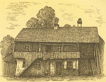 Jedna z chalup v někdejších Srubech na jiné Zwerenzově kresbě