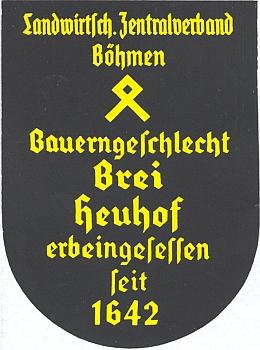 Čestná tabule dosvědčující stáří dědičné usedlosti selského rodu Breiů v dnes zaniklých Srubech