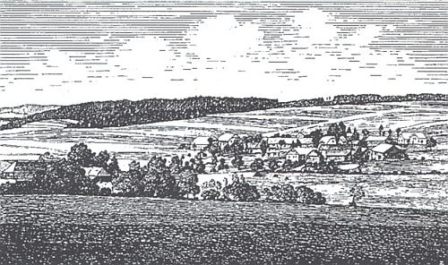 Sruby v celkovém pohledu od bavorské hranice na kresbě J. Zwerenze (vizi Josef Bohmann a Heidrun Kuchlerová)