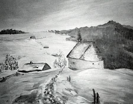 Kaple v Krásných Polích na reprodukci malby Gity Porakové