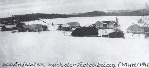 Rodná ves Krásná Pole po vyhnání, zachycená tu v zimě 1947