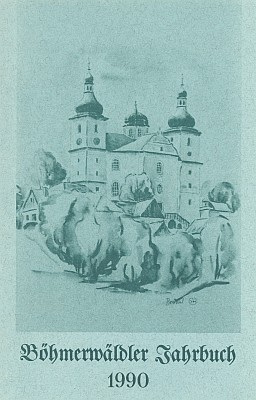 Obálka šumavského krajanského kalendáře s její kresbou poutního kostela v Dobré Vodě u Nových Hradů