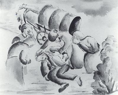 Její akvarel s názvem Vyhnání a medailon vkatalogu výstavy vPasově (1993)