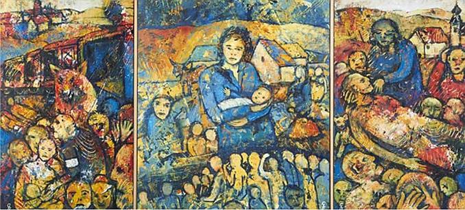 """Snímek z její výstavy v Sudetoněmeckém domě v Mnichově roku 2012 zachycuje obrazový triptych nazvaný """"Utrpení a hrůza vyhnání"""""""
