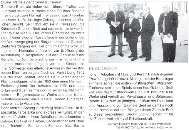 Článek k výstavě z jejího díla, pořádané roku 2014 ve Freilassingu