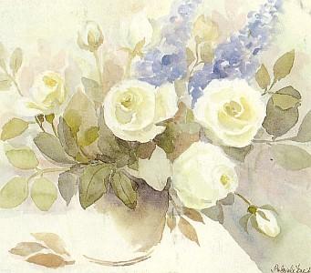 Růže (akvarel G. Breitové)