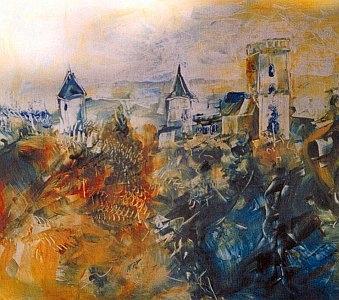 Zámek Rožmberk na výřezu jejího obrazu vytvořeného smíšenou technikou