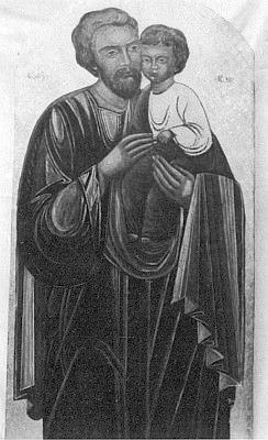 Svatý Josef na její ikoně má rysy podoby manželovy, který je s ní (druhý zleva) zachycen při krajanské poctě k sedmdesátinám umělkyně - čestný diplom jí předává Karl Halletz