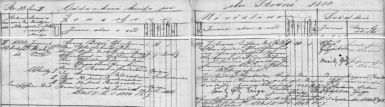 Záznam o svatbě jeho rodičů v oddací matice farní obce Strání, okr. Uherské Hradiště