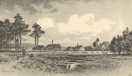 Sklárna v Jiříkově Údolí na obraze Karla Liebschera