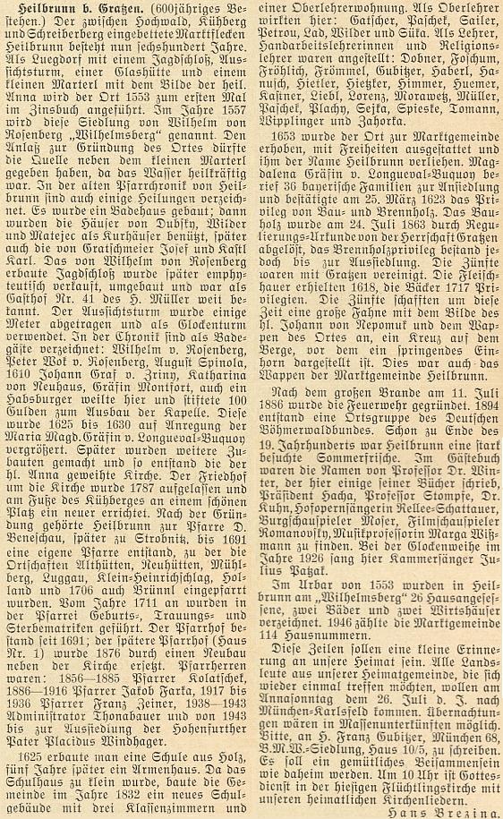 Jeho článek k 600. jubileu Hojné Vody vyšel v červnovém čísle krajanského měsíčníku roku 1953 a je podepsaný Hans Brezina