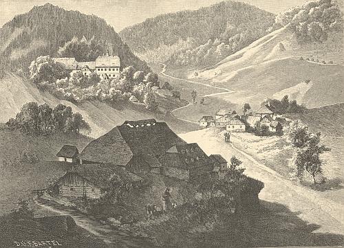 Stříbrné Hutě, jak je zpodobil Vojtěch Brechler pro věhlasnou Ottovu edici Čechy