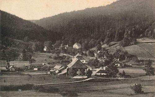 Stříbrné Hutě na pohlednici z doby kolem roku 1900 (viz i Robert Hamerling)