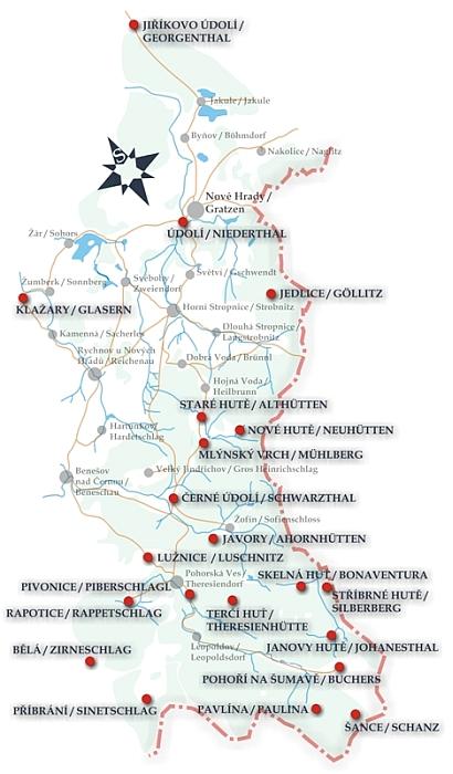 Jiná mapa skláren na Novohradsku uvádí (místy ovšem chybně) i německá jména osad