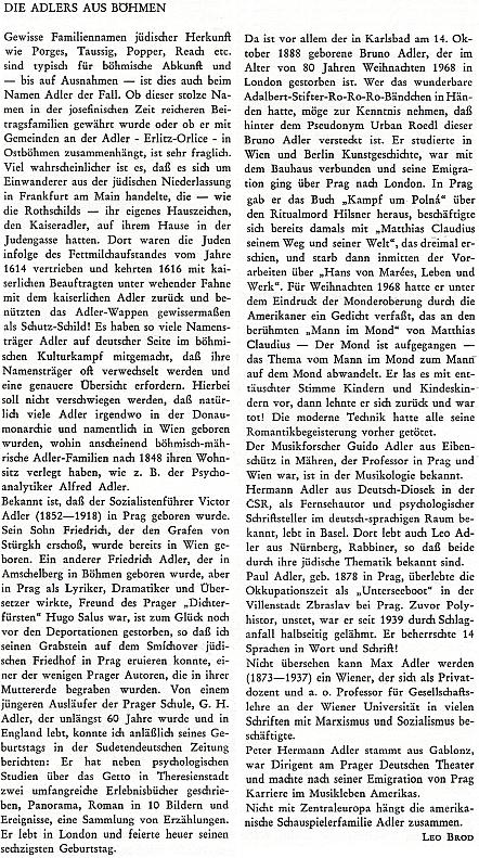 """Jeho příspěvek o """"Adlerových z Čech"""" v krajanském čtvrtletníku"""