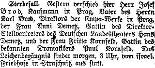 Zpráva renomovaného pražského německého listu o otcově skonu...